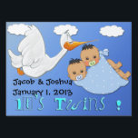 "Twin Boys - Stork Keepsake Yard Sign<br><div class=""desc"">Features a blue gradient with clouds and a stork carrying twin baby boys. The baby boys have dark hair and pacifiers in a blue blanket with white polka dots. Blue stylized Blue stylized text is It&#39;s Twins! Additional text is set up for the baby&#39;s name, birthday, and time of birth,...</div>"