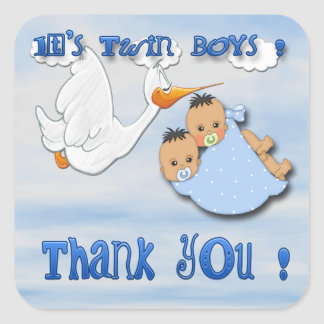 Twin Boys - Stork Thank You envelope seal Square Stickers