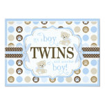 Twin Boys Teddy Bear Baby Shower Blue Custom Announcements
