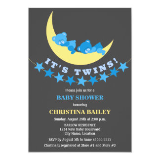 Twin Boys Teddy Bear Baby Shower Personalized Invite