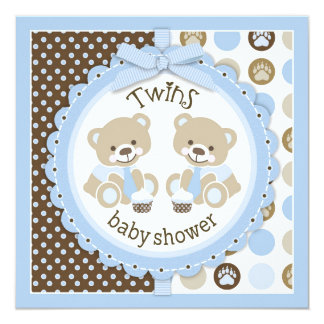 "Twin Boys Teddy Bears Ties Baby Shower 5.25"" Square Invitation Card"