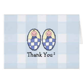 Twin Boys Thank You Greeting Cards