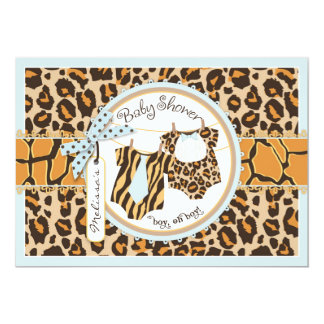 Twin Boys Tie Bow Tie Cheetah Print Baby Shower Card