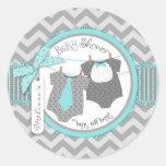 Twin Boys Tie Bow Tie Chevron Print Baby Shower Classic Round Sticker