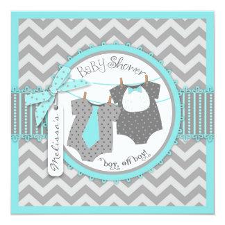 Twin Boys Tie Bow Tie Chevron Print Baby Shower