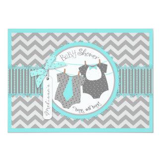 Twin Boys Tie Bow Tie Chevron Print Baby Shower 5x7 Paper Invitation Card