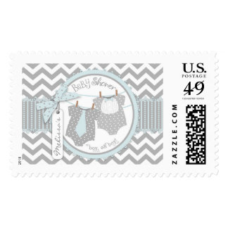 Twin Boys Tie Bow Tie Chevron Print Baby Shower Postage