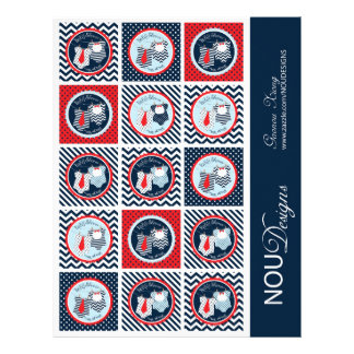 """Twin Boys Tie Bow Tie Mix Print Cupcake Toppers 8.5"""" X 11"""" Flyer"""