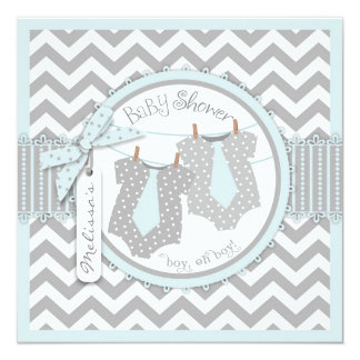 "Twin Boys Ties Chevron Print Baby Shower 5.25"" Square Invitation Card"