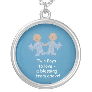 Twin boys to love! round pendant necklace