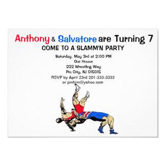 Twin Boys Wrestling Birthday Invitation