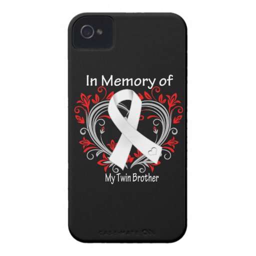 Twin Brother - In Memory Lung Cancer Heart iPhone 4 Case-Mate Cases