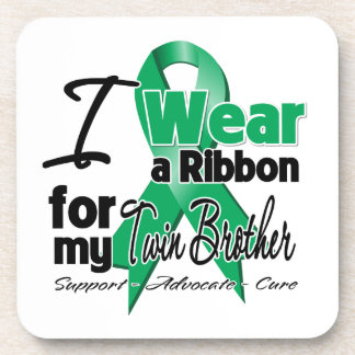 Twin Brother - Liver Cancer Ribbon.png Beverage Coaster