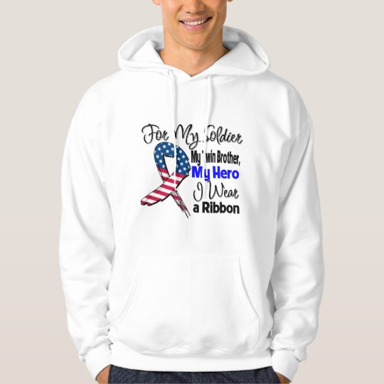 Twin Brother - My Soldier, My Hero Patriotic Ribbo Hoodie