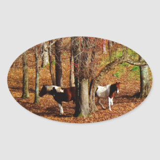 Twin Brown and White Horses Oval Sticker