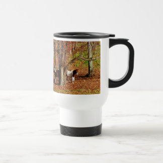 Twin Brown and White Horses Travel Mug