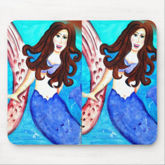 twin brunette mermaid mousepad