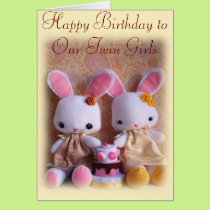Twin Bunnies with Cake Happy Birthday Card