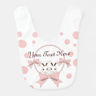 Twin Bunnies with Pink Ribbons Personalized Girl Baby Bib