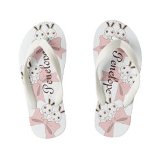 Twin Bunnies With Pink Ribbons Personalized Girls Kid's Flip Flops at Zazzle