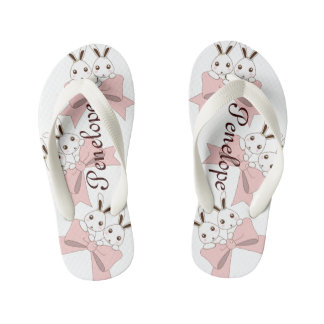 Twin Bunnies with Pink Ribbons Personalized Girls Kid's Flip Flops