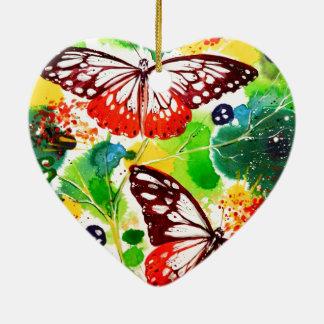 Twin Butterflies Ceramic Ornament