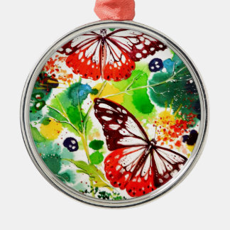 Twin Butterflies Metal Ornament