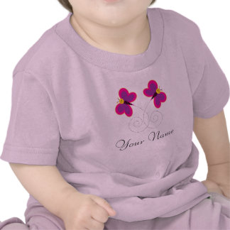 Twin Butterflies Personalized Girls Tee Shirts