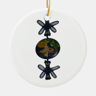Twin Butterfly make round of the earth Ceramic Ornament
