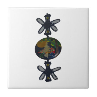 Twin Butterfly make round of the earth Ceramic Tile