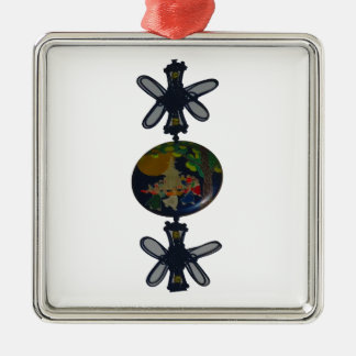 Twin Butterfly make round of the earth Metal Ornament