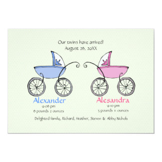 Twin Carriages Baby Birth Announcement