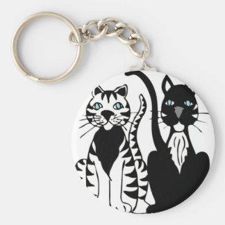 Twin Cartoon Cats Key Chains