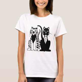 Twin Cartoon Cats T-Shirt