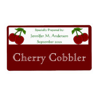 Twin Cherries Framed in Red Homemade Food Label