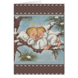 Twin Cherub Angels sleeping in snow bough branchs Card