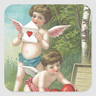 Twin Cherubs Deliver Valentine Wishes Square Sticker