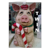 TWIN=CHRISTMAS PIGGY-NO MARKET-JUST CHRISTMAS WISH CARD