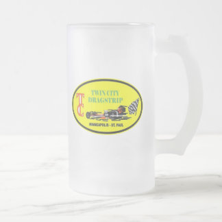 Twin City Drag Strip Class Winner Frosted Glass Beer Mug