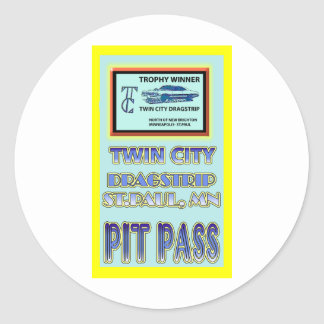 Twin City Dragstrip Pit Pass Classic Round Sticker