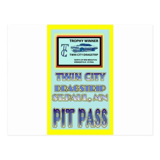 Twin City Dragstrip Pit Pass Postcard