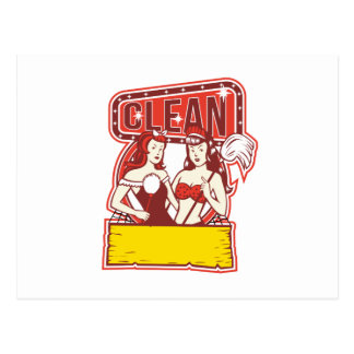 Twin Cleaners Clean 1950s Retro Postcard