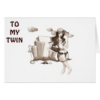TWIN-CLEBRATE THEN LET'S GO SHOPPING BIRTHDAY CARD