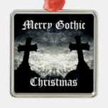 Twin crosses Merry Gothic Christmas Square Metal Christmas Ornament