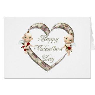 twin cupids greeting card