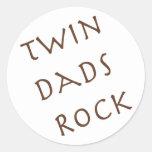 Twin Dads Rock Round Stickers
