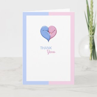 Twin Doves Baby Shower Thank You Card card