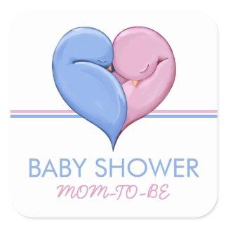 Twin Doves Heart Baby Shower Gift Sticker sticker
