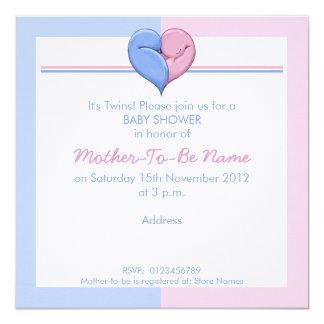 Twin Doves Heart Baby Shower Invitation
