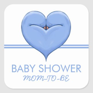 Twin Doves Heart blue Baby Shower Gift Sticker sticker